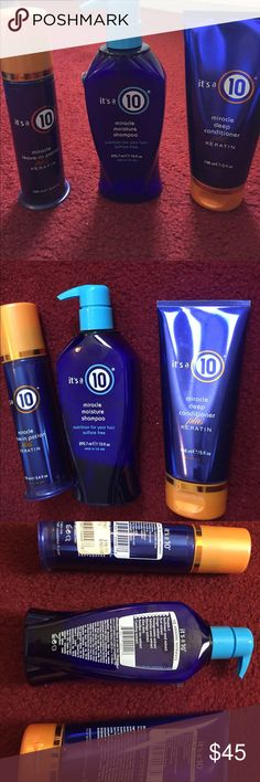 New Miracle 10 bundle New Miracle 10 bundle. Only tested the potion and deep conditioner once.  The shampoo has not been opened. miracle 10 Makeup