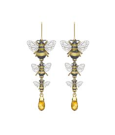 Theo Fennell citrine triple-bee drop earrings.  Symbols of happy industry carrying a perfect honey colooured citrine.  Their buzz is the harbinger of a lazy summer's day, yet they are so industrious. What's not to like about the bee?