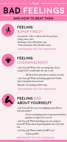 Quotes for Motivation and Inspiration QUOTATION – Image : As the quote says – Description A few bad feelings– and how to beat them. Use this positive thinking chart for a boost of positivity whenever you're having a bad day at work! Positive Mindset, Positive Life, Positive Thoughts, Positive Quotes, Positive Affirmations, Think Positive, Body Positive, Positive Thinking Tips, Encouragement