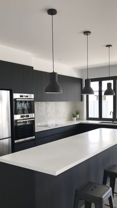 Black and white kitchen, absolute matte black laminex, quantum quartz alpine matte benchtop - Kitchen Cabinet Ideas Open Plan Kitchen Living Room, Kitchen Room Design, Modern Kitchen Design, Home Decor Kitchen, Interior Design Kitchen, Black Kitchen Cabinets, Black Kitchens, Home Kitchens, Kitchen Black Appliances