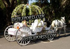 Cinderella Wedding Carriage | WEDDING FLOWER CINDERELLA CARRIAGE Cinderella Carriage, Cinderella Wedding, Wedding Carriage, Horse Carriage, Horse Drawn, Pink Dress, Baby Strollers, Antique Cars, Wedding Flowers
