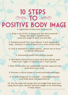 10 Steps to a positive body image.