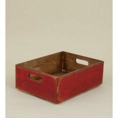 Cajón rojo. Cajón de madera oscura con efecto envejecido y cubierto con pintura no tóxica color rojo.  Longitud: 40 cm Ancho: 30 cm Altura: 14 cm