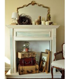4 Prodigious Useful Ideas: Fireplace Garden Indoor fireplace design with windows.Dark Fireplace Mantle fireplace and tv focal points. Faux Fireplace Mantels, Unused Fireplace, Brick Fireplace, Fireplace Design, Fireplace Filler, Fireplace Decorations, Mantel Ideas, Empty Fireplace Ideas, Cottage Fireplace
