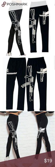 New Machine Gun Leggings Black Pants Brand new   Black cotton spandex blend White graphics print Pants Leggings