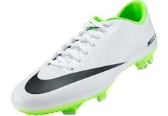 Nike Mercurial Victory IV FG Soccer Cleats - White with Electric Green
