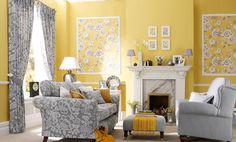 yellow, grey & flowers