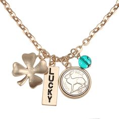 @Overstock - Carry your favorite good luck charm with you every day with this elegant coin necklace. A lucky coin, four leaf clover, and rabbit's foot charm feature a rich gold finish that draws the attention of others, and the pieces dangle tantalizingly.http://www.overstock.com/Jewelry-Watches/American-Coin-Treasures-Goldtone-Rabbit-Coin-and-Lucky-Tag-Pendant/6328638/product.html?CID=214117 $18.49