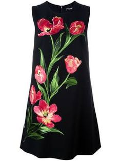 embroidered tulip shift dress