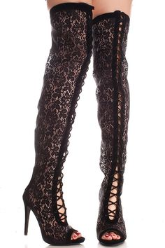 BLACK FLORAL LACE BACK ZIPPER SINGLE SOLE LACED UP OVER THE KNEE BOOTS. ILOVE SHOES