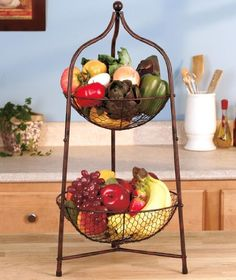 2 Tier Bronzed Metal Scrolled Storage Fruit Basket Kitchen Organizer Lti Http Www