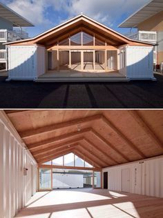 shigeru ban: onagawa temporary container housing   community center #containerhome #shippingcontainer