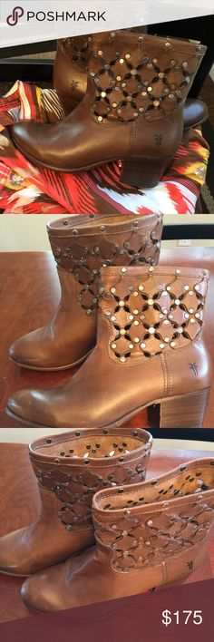 Brown Frye short boots 6 Brown Frye boots with cut outs and silver hardware  Size 6 Frye Shoes Ankle Boots & Booties