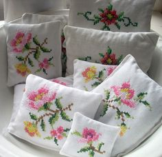 Lovely antique stitching made into lavender sachets by Raggedroses.  Would make awesome bridal gifts