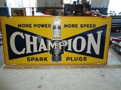 Vintage Advertising Champion Spark Plug Sign Garage Man Cave Hot Rod Rat Rod