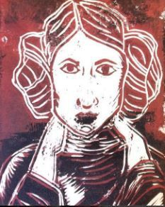 Princess Leia A5 Handmade Lino Print by Printmiscuous on Etsy