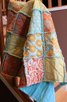 Baby rag quilt. Love the colors