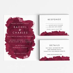 Printable Wedding Invitation Set - Modern Burgundy Watercolor Invitation Suite - Printable Invitation - Letter or A4 Size (Item code: P421)