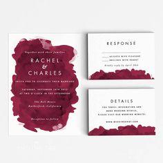 Printable Wedding Invitation Set - Modern Burgundy Watercolor Invitation Suite - Printable Invitation - Letter or A4 Size (Item code: P421)