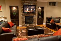Basement ideas for small spaces family room and small basement family room design with living room color schemes and family room decorating ideas photos 2019 Family Room Decorating, Family Room Design, Decorating Ideas, Decor Ideas, Family Rooms, Basement Decorating, Interior Decorating, Diy Ideas, Decorating Bathrooms