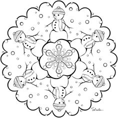 Great snowman mandala Color me! Mandalas Painting, Mandalas Drawing, Mandala Coloring Pages, Coloring Book Pages, Coloring Pages For Kids, Colouring Sheets, Mandala Winter, Christmas Mandala, Christmas Coloring Sheets