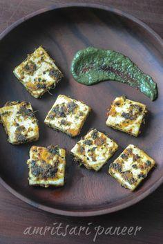 Amritsari paneer tikka recipe, paneer Amritsari step by step - Edible Garden Paneer Dry Recipe, Paneer Recipes, Veg Recipes, Indian Food Recipes, Vegetarian Recipes, Snack Recipes, Cooking Recipes, Capsicum Recipes, Pakora Recipes