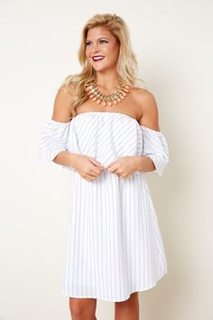 Spring Love White Striped Off The Shoulder Dress at reddressboutique.com