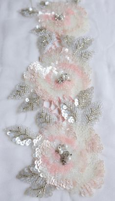 Embroidery Roses Hand-made trim with sequined roses in pink and grey Hand Embroidery Dress, Hand Embroidery Tutorial, Couture Embroidery, Embroidery Motifs, Rose Embroidery, Hand Embroidery Designs, Sequin Embroidery, Machine Embroidery, Tambour Beading