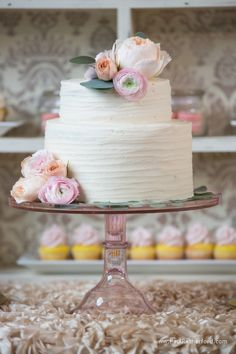 Dessert table cake and cupcakes by Simply Sweet by Jessica at Castle Farms Styled Wedding Shoot with Monarch Garden and Floral and Photo by Paul Retherford Wedding Photography #castlefarms #cake #wedding #nomiweddings #Springwedding #Ranunculus #bloom #florist #cupcake #weddingidea #weddingplanning #weddinginspiration #dessert #weddingcake
