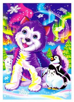Lisa Frank Tikanni the Husky Puppy Post Card via Etsy