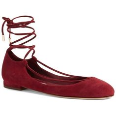 Diane von Furstenberg Paris Lace-Up Flat ($90) ❤ liked on Polyvore featuring shoes, flats, bordeaux su, ankle strap ballet flats, almond toe flats, laced flats, flat shoes and ankle wrap flats