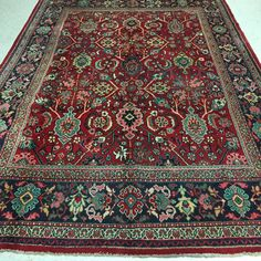 7 x 11 Antique Persian Mahal Tribal Hand Knotted Wool Reds Blues Oriental Rug #PersianMahalTribalTraditionalGeometric
