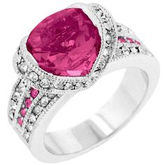 White Gold Rhodium Bonded Princess Keylani Tension Set Ovaline Ring in Silvertone. The Ovaline Duo Ring is the perfect combination of glitz and glamour. Pink Ring, Perfect Pink, Cocktail Rings, Jewelry Collection, Heart Ring, Fashion Jewelry, White Gold, Wedding Rings, Bling