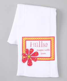 Take a look at this White & Red 'Made With Love' Personalized Burp Cloth by Initial Request on #zulily today!