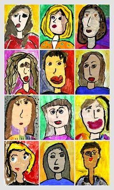 Tempera Paint Portraits 1st Grade