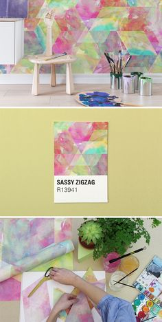 Sassy Zigzag – A Wall Mural for the Creative Mind in Bright Watercolor Rhombs
