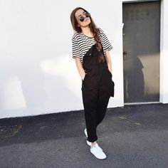 Black overalls and striped tee Tumblr Outfits, Girl Outfits, Grunge, Outfit Goals, Dress To Impress, Jeans, Girls, Autumn Fashion, Fashion Looks