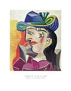 Pablo Picasso: Woman with a Blue Hat, Bild - Poster - Kunstdruck, Leinwandbild und gerahmtes Bild. Pablo Picasso Artwork, Picasso Prints, Picasso Paintings, Framing Canvas Art, Trinidad, Cubist Movement, Fine Art Photo, Artist Art, Painting & Drawing