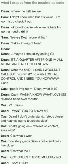 Dean and Castiel Destiel Supernatural Musical Dean And Castiel, Supernatural Destiel, Dean Winchester, Misha Collins, Fandoms, Jensen Ackles, Nos4a2, Super Natural, Laughing So Hard