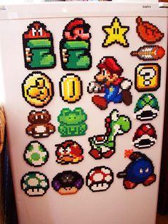 Mario fridge magnets perler beads by SerenaAzureth Perler Beads, Perler Bead Mario, Fuse Beads, Pixel Art, Pearler Bead Patterns, Perler Patterns, Kandi Patterns, Super Mario, Mario Yoshi