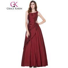 Grace Karin Elegant Long Evening Dresses Party Burgundy Asymmetrical Evening Gowns Taffeta Formal Prom Special Occasion Dresses #Affiliate