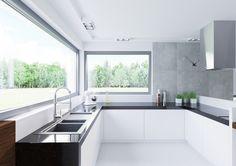 Luxury Kitchen Design, Kitchen Room Design, Kitchen Cabinet Design, Living Room Kitchen, Home Decor Kitchen, Interior Design Kitchen, Kitchen Furniture, Modern House Plans, Modern House Design