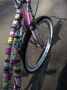 mod podge fabric to your bike! great for thrift store bikes