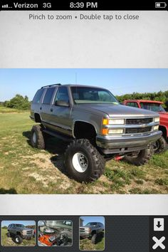 1995 Tahoe 4x4.Solid axle conversion, with Corporate 14 and Corporate 10 axles Disc brakes all the way around. Hurst pro shifter. The front axle has the crossover steering setup on it and rancho stabilizers. Tires are 38.5 interco TSL on white wagon wheels.