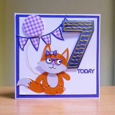 7th Birthday Card - Tattered Lace Tiny Tubs Fox Die & Tonic Number Die. To purchase my cards please visit CraftyCardStudio on Etsy.com. 7th Birthday, Birthday Cards, Punch Art, Tubs, I Card, Handmade Cards, Fox, Number, Lace