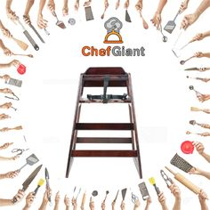 ChefGiant Kids Wooden Stacking High-Chair, Mahogany, Unassembled  #ChefGiant #StackingHighChair #WoodenChair #Dining