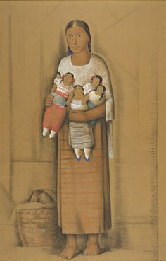 ALFREDO RAMOS MARTINEZ (Mexican) Young Woman with Dolls (c.1935)