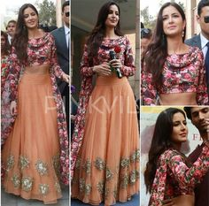 Katrina Kaif wearing floral top with Orange lehanga by Bhumika Sharma for her movie Fitoor Promotions