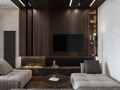 Get onboard with the wood slat wall trend with this luxurious home interior; featuring wood slat dividing walls, wall panel design and wood ceiling ideas. Wall Panel Design, Tv Wall Design, Luxury Interior, Modern Interior, Interior Design, Apartment Interior, Room Interior, Tv Feature Wall, Tv Wanddekor