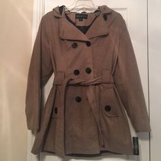 Brand New Faux Wool Jacket Very chic & stylish! Mocha/tan color. Comes with belt and good Metaphor Jackets & Coats